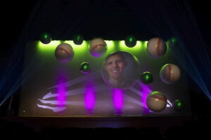 Video Projection Mapping Onto Round Spheres with Animation for Awards Banquet at Theatre